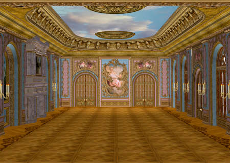 baroque room: 3D digital render of a beautiful retro ballroom in a palace Stock Photo