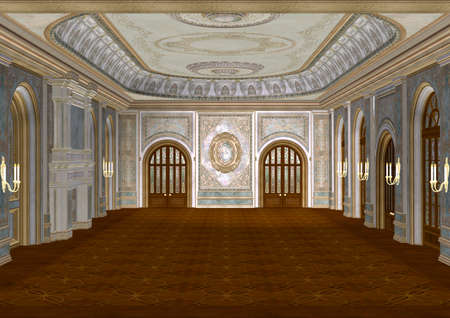 great hall: 3D digital render of a beautiful retro ballroom in a palace Stock Photo