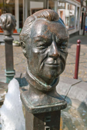 brandt: Statue of Willy Brandt as a part of a fountain in Unkel, a town in the district of Neuwied, in Rhineland-Palatinate, Germany