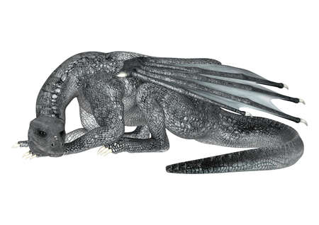 3D digital render of a silver fantasy dragon isolated on white background photo