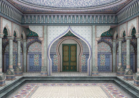 3D digital render of a fairytale oriental palace Stock Photo