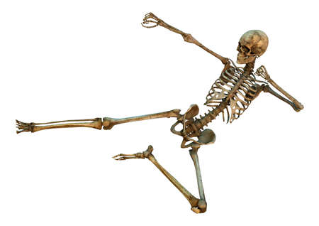 3D digital render of a human skeleton in a yoko-tobi geri martial arts position isolated on white background