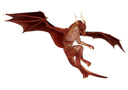flying dragon: 3D digital render of a red fairytale dragon isolated on white background