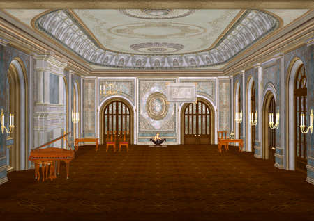 3D illustration of a beautiful fairytale ballroom with a piano, a fireplace, candles, tables and chairs illustration