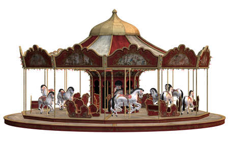 rendering: 3D digital render of a vintage carnival carousel isolated on white background