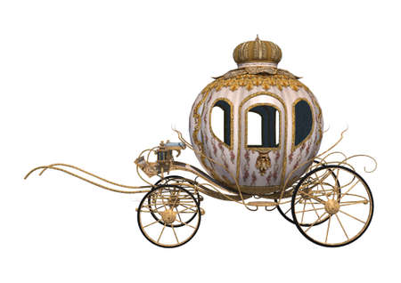 rendering: 3D digital render of a fairytale Cinderellas carriage isolated on white background Stock Photo