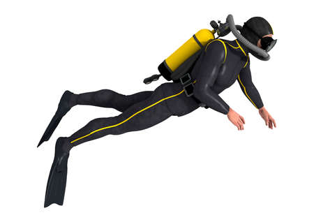 diving: 3D digital render of a male diver isolated on white background