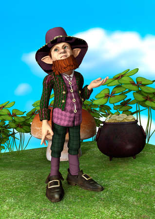 leprechaun: 3D digital render of a charming little leprechaun, pot of gold and shamrock on a blue sky and a green meadow background