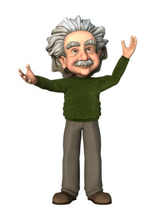 albert: 3D digital render of a cartoon scientist isolated on white background
