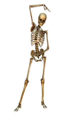 scaring: 3D digital render of a human skeleton dancing isolated on white background Stock Photo