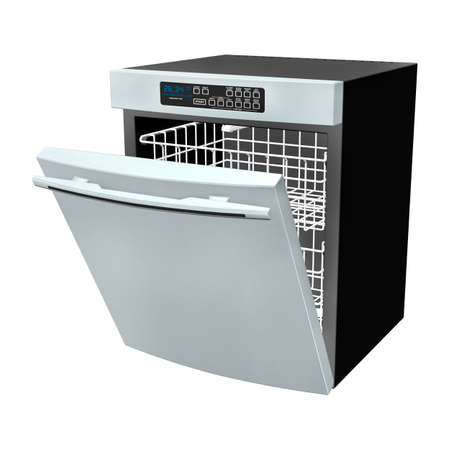 dishwasher: 3D digital render of a dishwasher isolated on white background