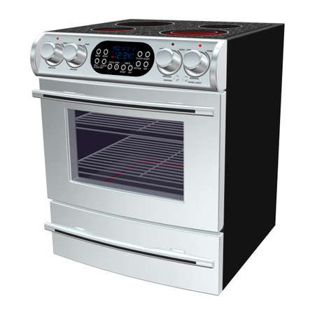 bakeoven: 3D digital render of an oven isolated on white background