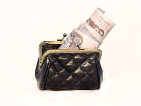 black pattern - leather purse whith warped banknotes Stock Photo - 809497
