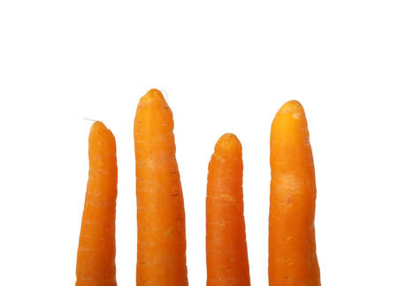 carotene: four fresh clean  carrots isolated on white
