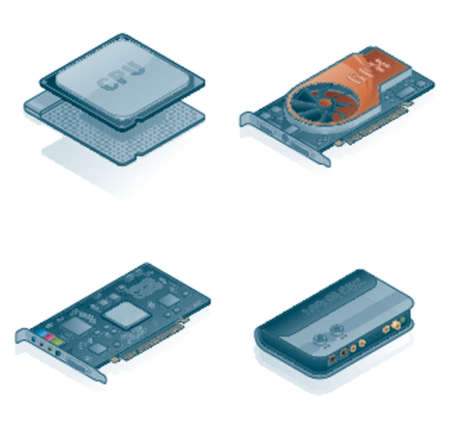 Computer Hardware Icons Set - Design Elements 55j, its specially designed with a web designers in mind to achieve PIN SHARP ICONS ON A SCREEN Vector