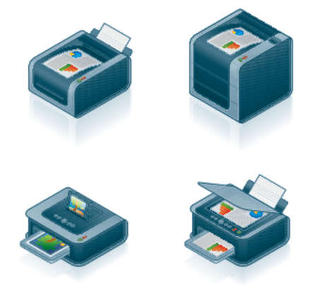 Computer Hardware Icons Set - Design Elements 55o, its specially designed with a web designers in mind to achieve PIN SHARP ICONS ON A SCREEN Vector