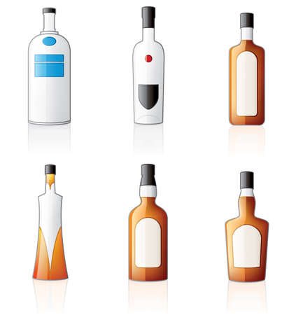 Bottles Icon Set (Vodka & Whiskey) Stock Vector - 2533814