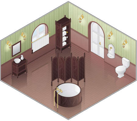 separate: Stylish Large Green Bathroom (isometric style) - its a high resolution image with a CLIPPING PATH for easy separate it from a background.