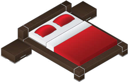 underneath: Modern Style Large Wooden Bed with aluminum finish and red bedding (isometric style). Its a high resolution image with a CLIPPING PATH for easy remove unwanted shadows underneath.