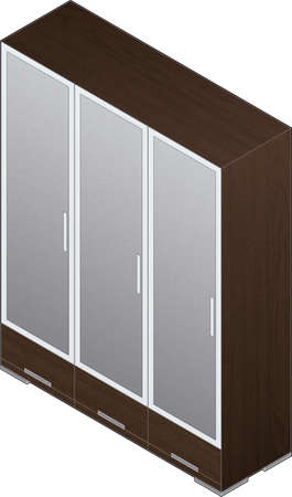 Modern Style Large Wooden Wardrobe with aluminum finish and glass doors (isometric style) Vector