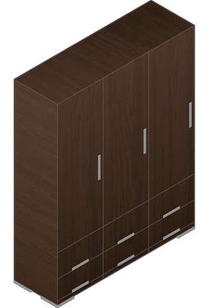 Modern Style Large Wooden Wardrobe with aluminum finish Vector
