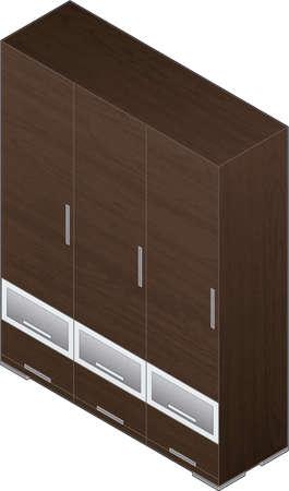 puertas de cristal: Modern Style Grande Armario de madera con acabado de aluminio con puertas de cristal (isom�trica estilo). Es una imagen de alta resoluci�n con un recorte PATH para una f�cil eliminar sombras no deseadas en la parte inferior.