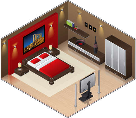 furniture idea: Modern Style wooden floor Large Bedroom (isometric style). Its a high resolution image with a CLIPPING PATH for easy remove unwanted shadows underneath.