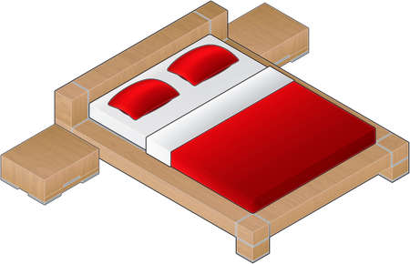 Modern Style Large Wooden Bed with aluminum finnish and glass door (isometric style). Its a high resolution image with a CLIPPING PATH for easy remove unwanted shadows underneath. Vector