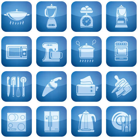Vector icons set saved as an Adobe Illustrator version 8 EPS file format easy to edit, resize or colorize. Files are created in CMYK color space safe for prints and easy to convert to RGB color space. Stock Vector - 6372612