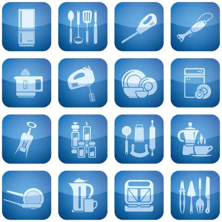 squeezer: Cobalt Square 2D Icons Set: Kitchen utensils Illustration