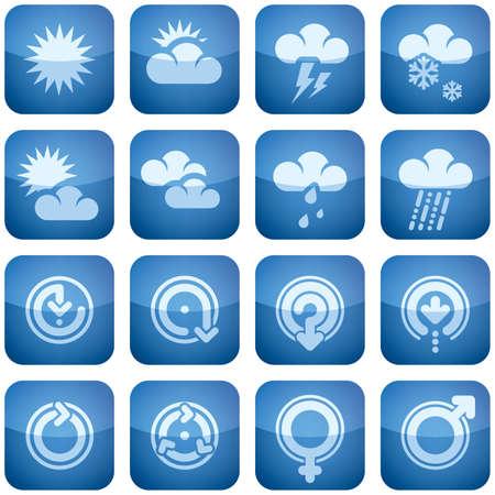 cobalt: Cobalt Square 2D Icons Set: Weather & Arrows