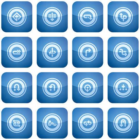 cobalt: Cobalt Square 2D Icons Set: Arrows & Directions Illustration