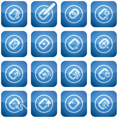 cobalt: Cobalt Square 2D Icons Set: Computer Stuff