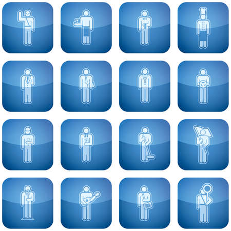 manual job: Cobalt Square 2D Icons Set: Occupation