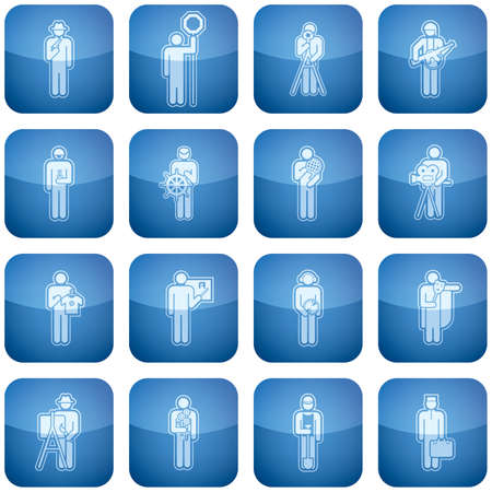 Cobalt Square 2D Icons Set: Occupation Vector