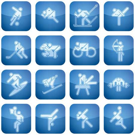 cobalt: Cobalt Square 2D Icons Set: Sport Illustration