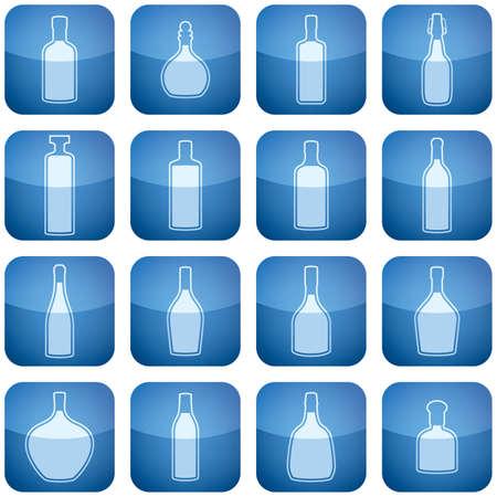 Cobalt Square 2D Icons Set: Alcohol bottles Stock Vector - 6452074