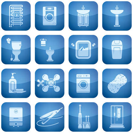Cobalt Square 2D Icons Set: Bathroom Vector