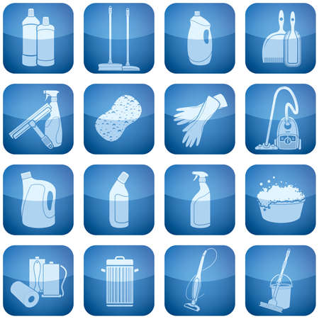 охватывающей: Cleaning theme icons set covering stuff from brush and vacuum cleaner to gloves and paper towel.   Иллюстрация