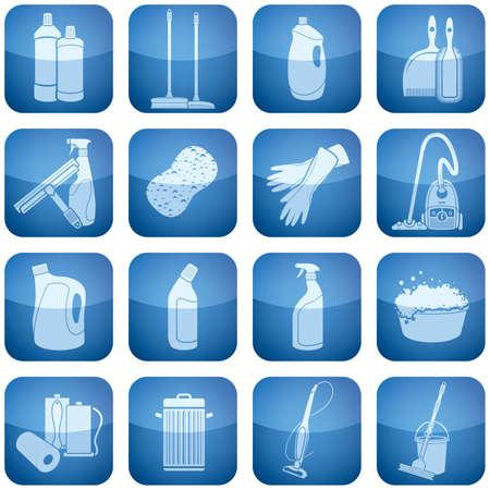 barren: Limpieza de iconos de tema conjunto que abarca cosas de pincel y la aspiradora para guantes y toalla de papel.   Vectores