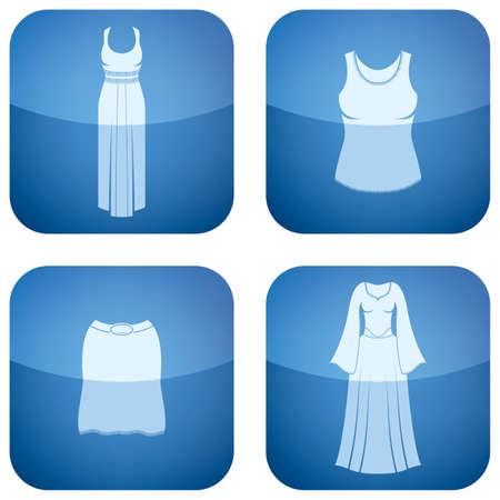sleeveless: Cobalt Square 2D Icons Set: Womans Clothing