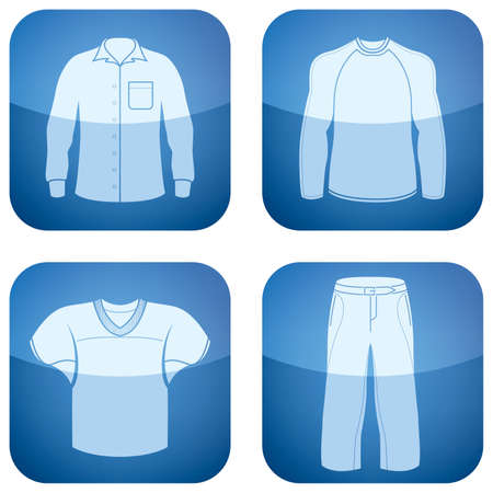 Cobalt Square 2D Icons Set: Mans Clothing Illustration