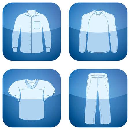 white blouse: Set de iconos 2D de cobalto Plaza: ropa de hombre Vectores
