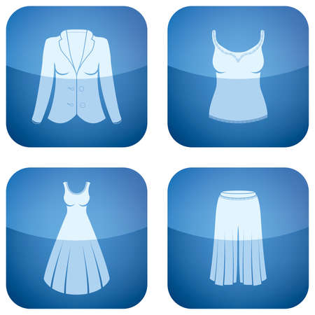 woman's: Cobalt Square 2D Icons Set: Womans Clothing