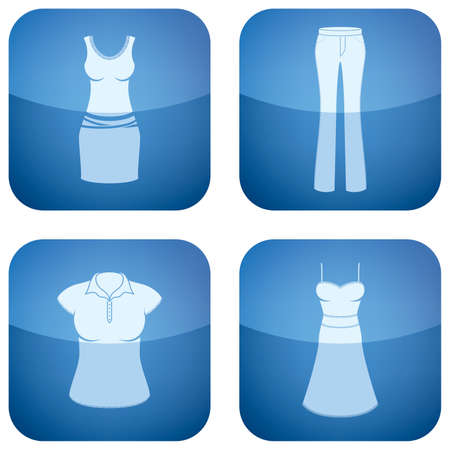 Cobalt Square 2D Icons Set: Woman's Clothing Stock Vector - 6523167