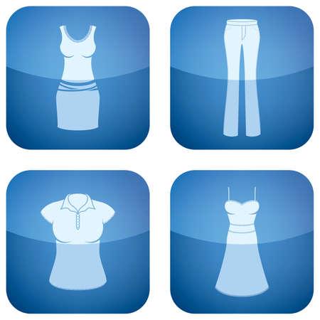 woman's clothing: Cobalt Square 2D Icons Set: Womans Clothing