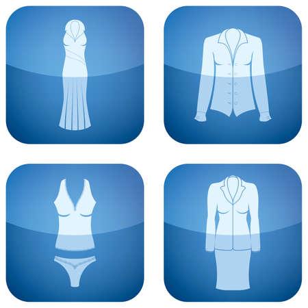 undergarment: Cobalt Square 2D Icons Set: Womans Clothing