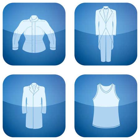 cobalt: Cobalt Square 2D Icons Set: Mans Clothing Illustration