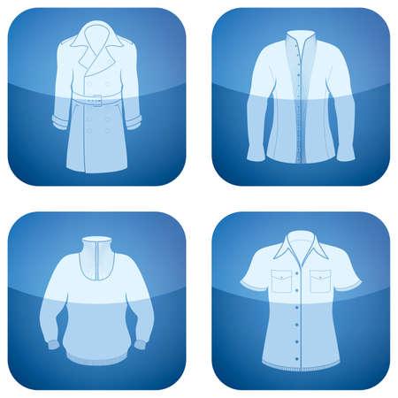 outwear: Cobalt Square 2D Icons Set: Mans Clothing Illustration