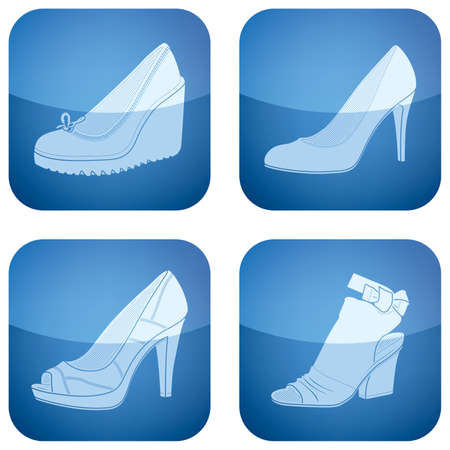 adobe: High-helded footwear theme icons set covering all kind elegant womans shoes.  Vector icons set saved as an Adobe Illustrator version 8 EPS file format easy to edit, resize or colorize. Files are created in CMYK color space safe for prints and easy to con Illustration